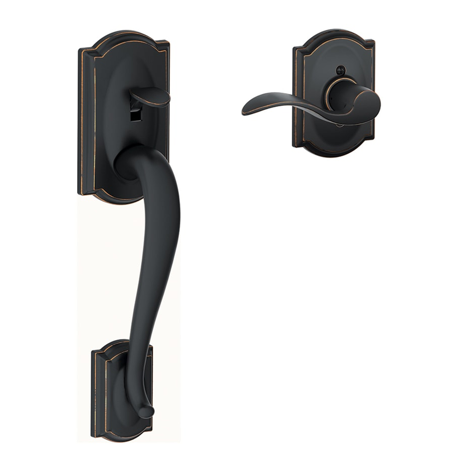 Shop Schlage Camelot Aged Bronze Entry Door Exterior Handle At