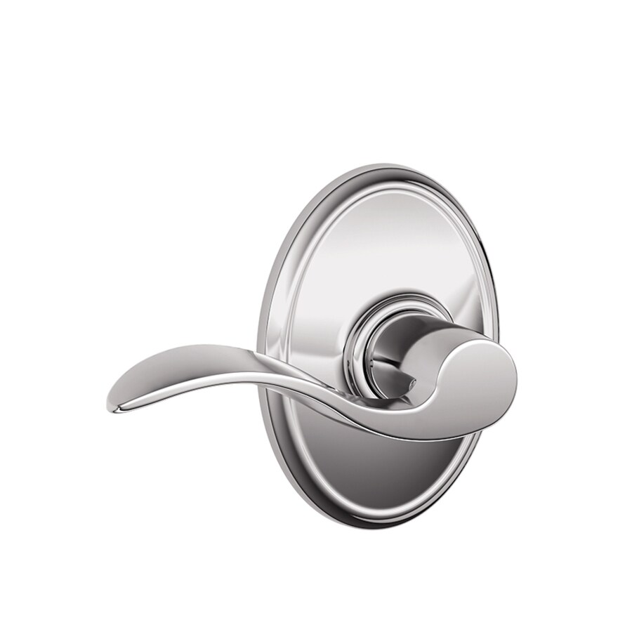 Schlage F10 Accent Deco Accent with Wakefield Polished Chrome Passage Door Lever