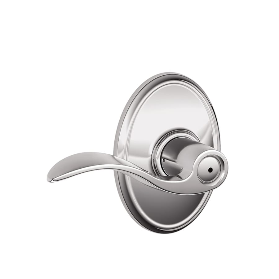Schlage F40 Accent Deco Accent with Wakefield Polished chrome Push-Button Lock Privacy Door Lever