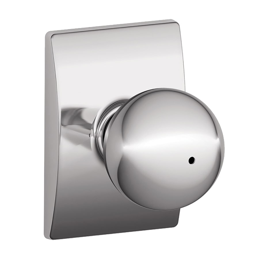 Schlage F Decorative Century Collections Orbit Polished Chrome Round Push-Button Lock Privacy Door Knob