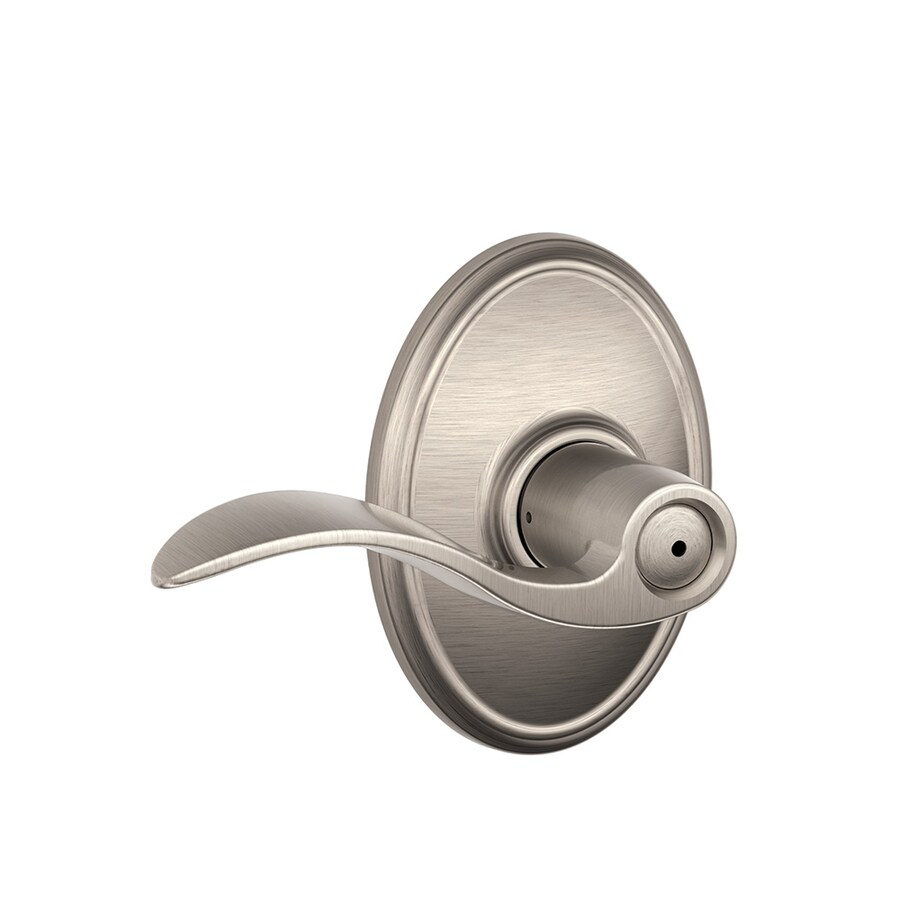 Schlage Decorative Wakefield Collections Accent Satin Nickel Push-Button Lock Privacy Door Lever