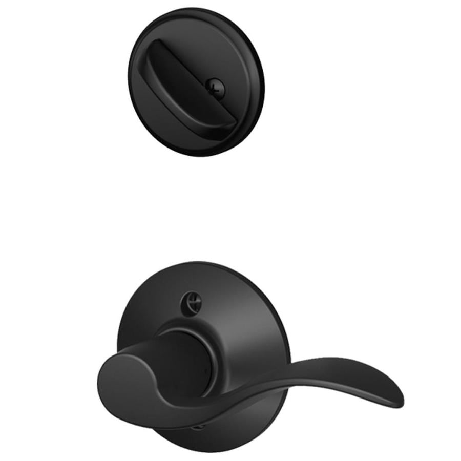 Schlage Accent 1-5/8-in to 1-3/4-in Matte Black Single Cylinder Lever Entry Door Interior Handle