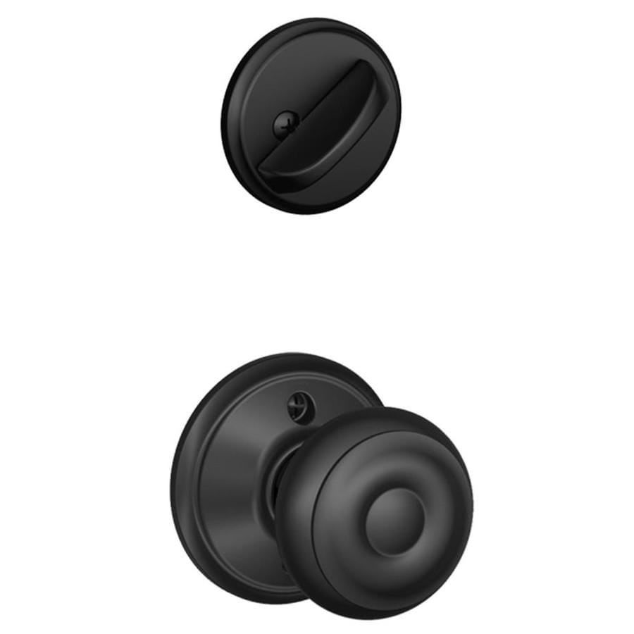Schlage Georgian 1-5/8-in to 1-3/4-in Matte Black Single Cylinder Knob Entry Door Interior Handle