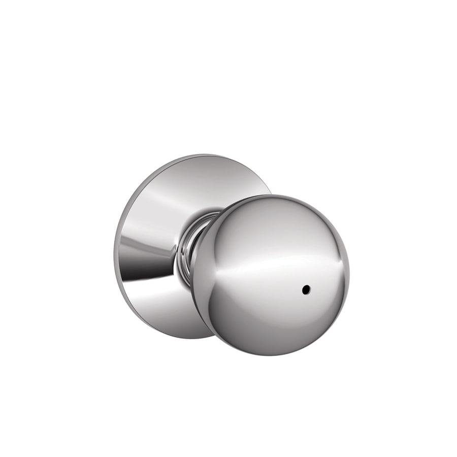 Schlage F Orbit Bright Chrome Round Push Button-Lock Privacy Door Knob