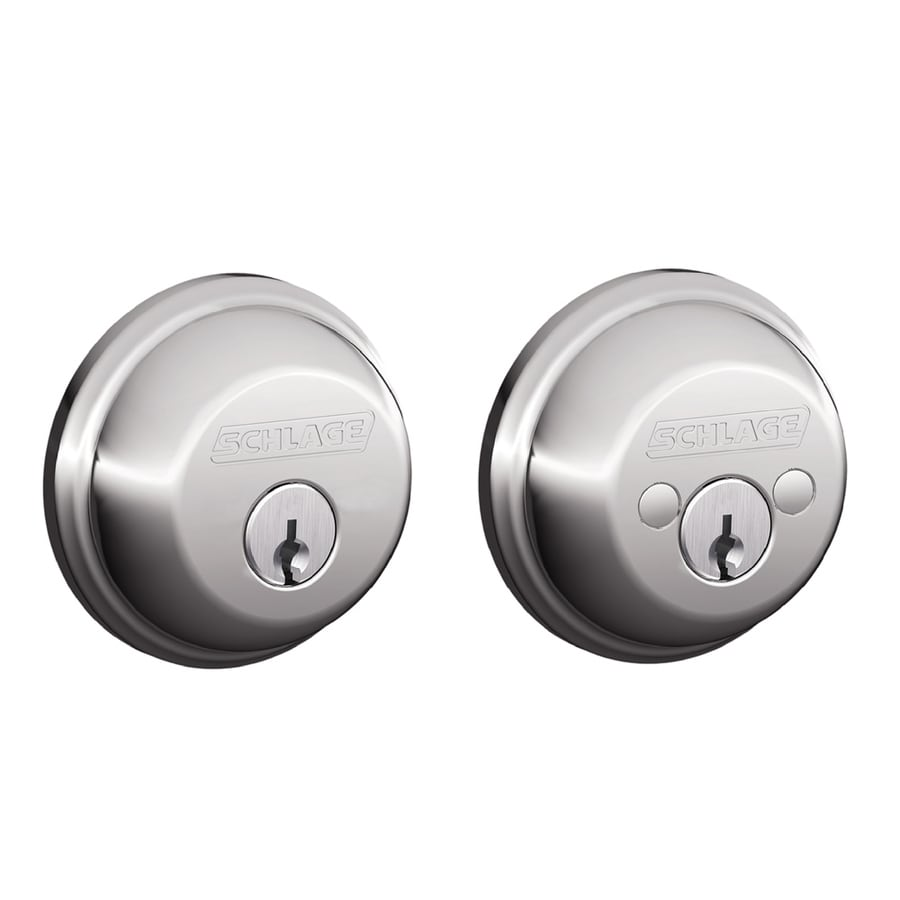 Schlage B Bright Chrome Double-Cylinder Deadbolt
