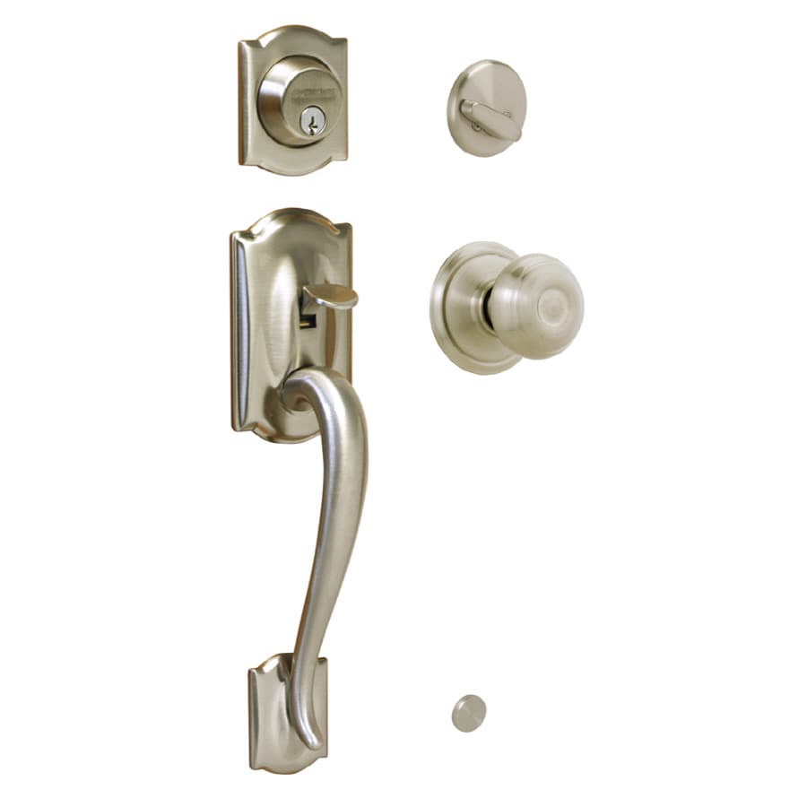 Shop schlage camelot satin nickel traditional keyed entry for Exterior door knobs