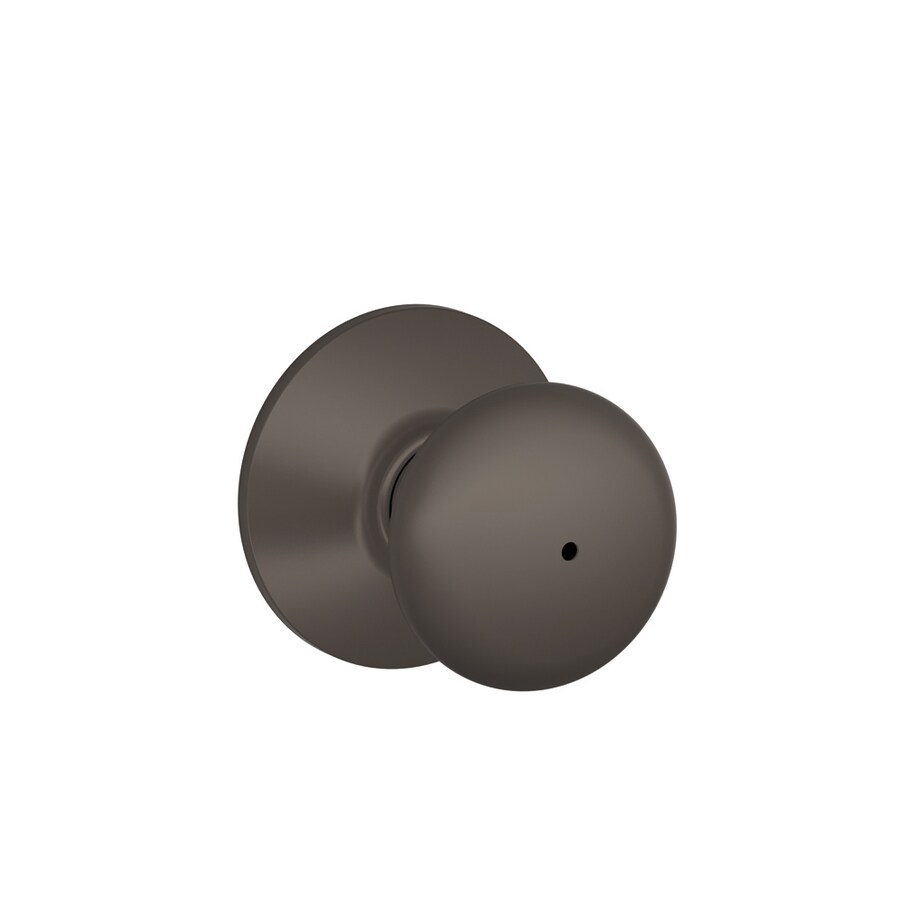 Schlage F Plymouth Oil-Rubbed Bronze Round Push Button-Lock Privacy Door Knob