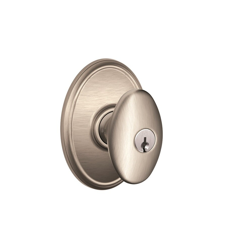 Schlage F Decorative Wakefield Collections Siena Satin Nickel Egg Keyed Entry Door Knob