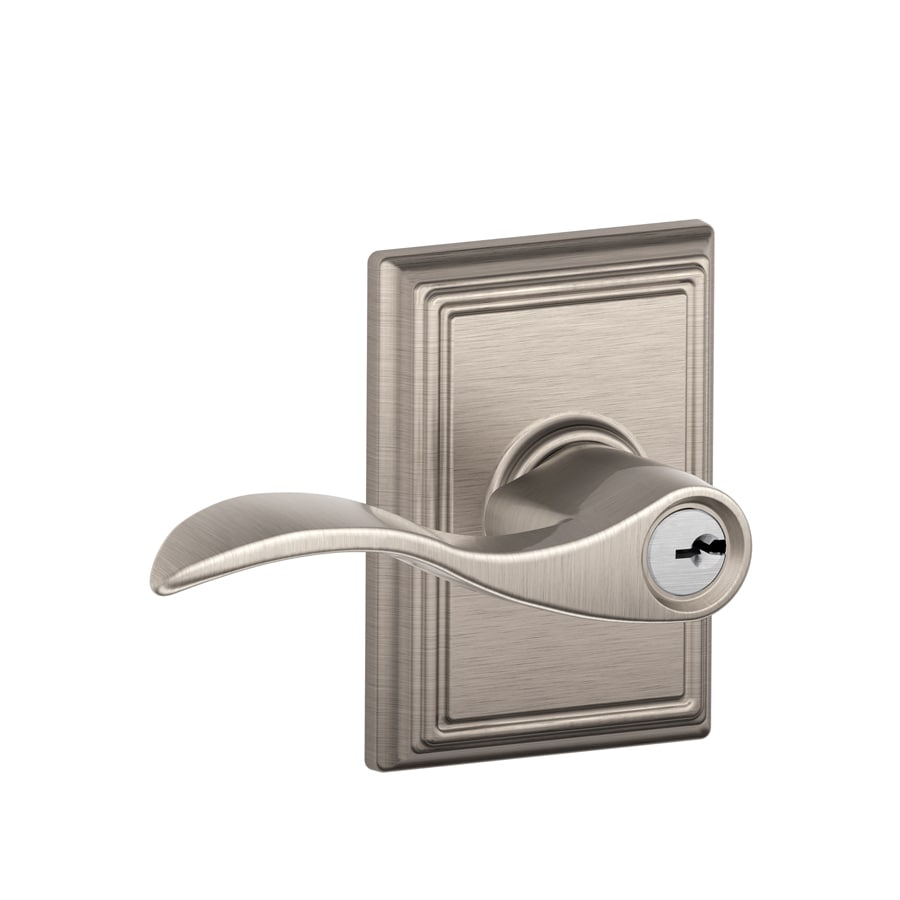 Schlage F Decorative Addison Accent Satin Nickel Keyed Entry Door Lever