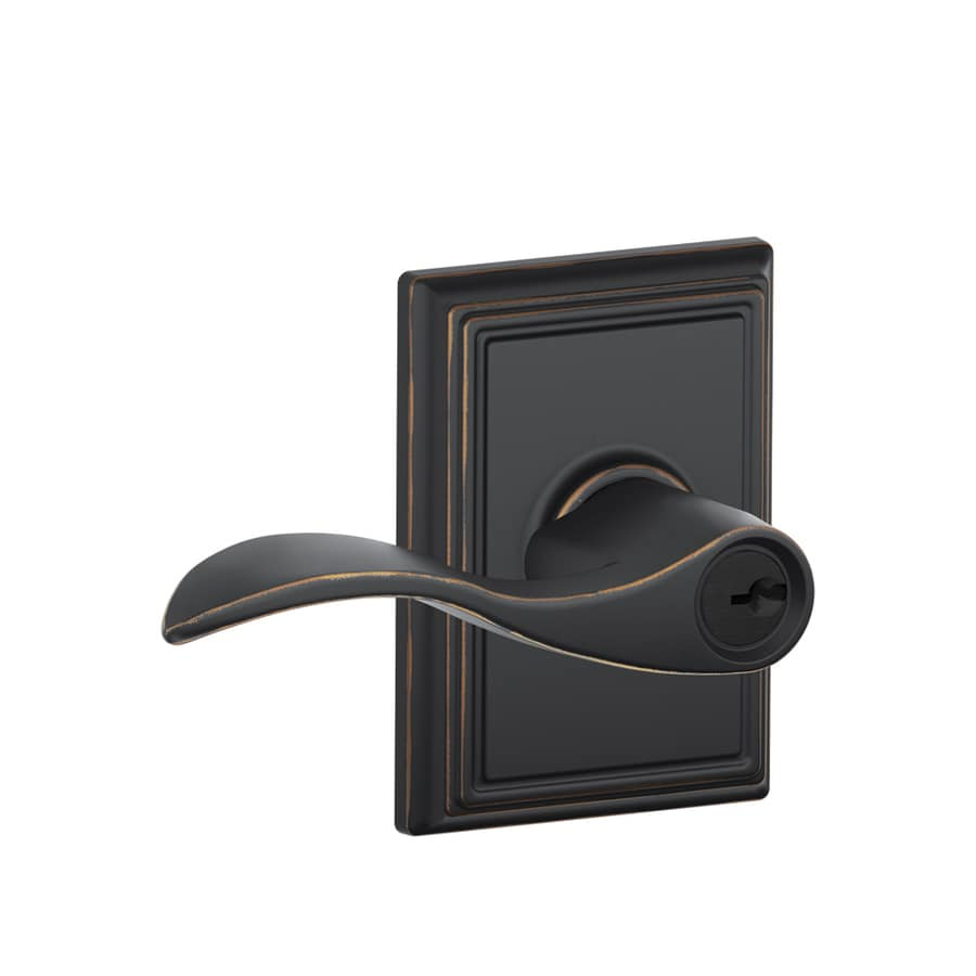 Schlage F Decorative Addison Collections Accent Traditional Aged Bronze Universal Keyed Entry Door Lever