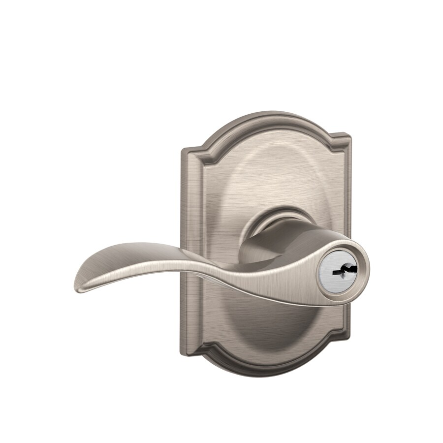 Schlage F Decorative Camelot Collections Accent Satin Nickel Universal Keyed Entry Door Lever