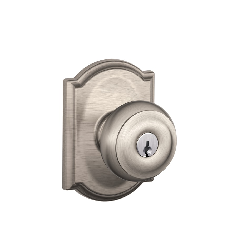 Delightful Schlage Georgian Satin Nickel Keyed Entry Door Knob Nice Ideas