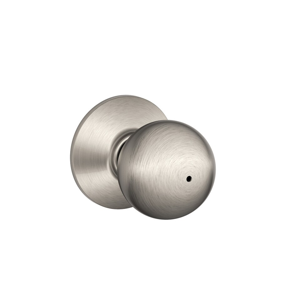Schlage F Orbit Satin Nickel Round Push Button-Lock Privacy Door Knob
