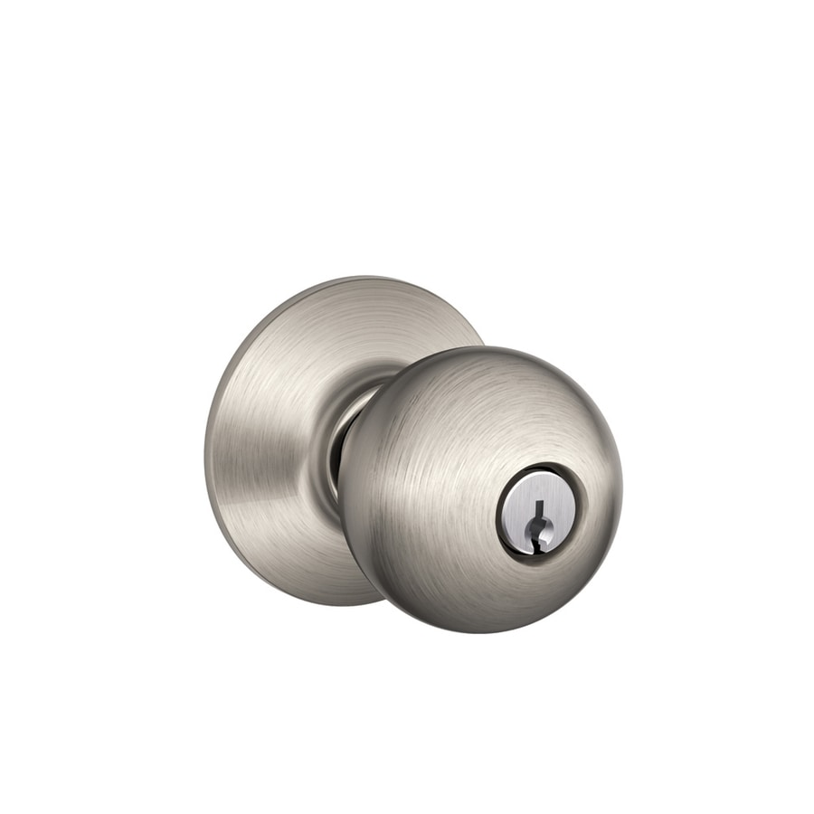Schlage F Orbit Satin Nickel Keyed Entry Door Knob