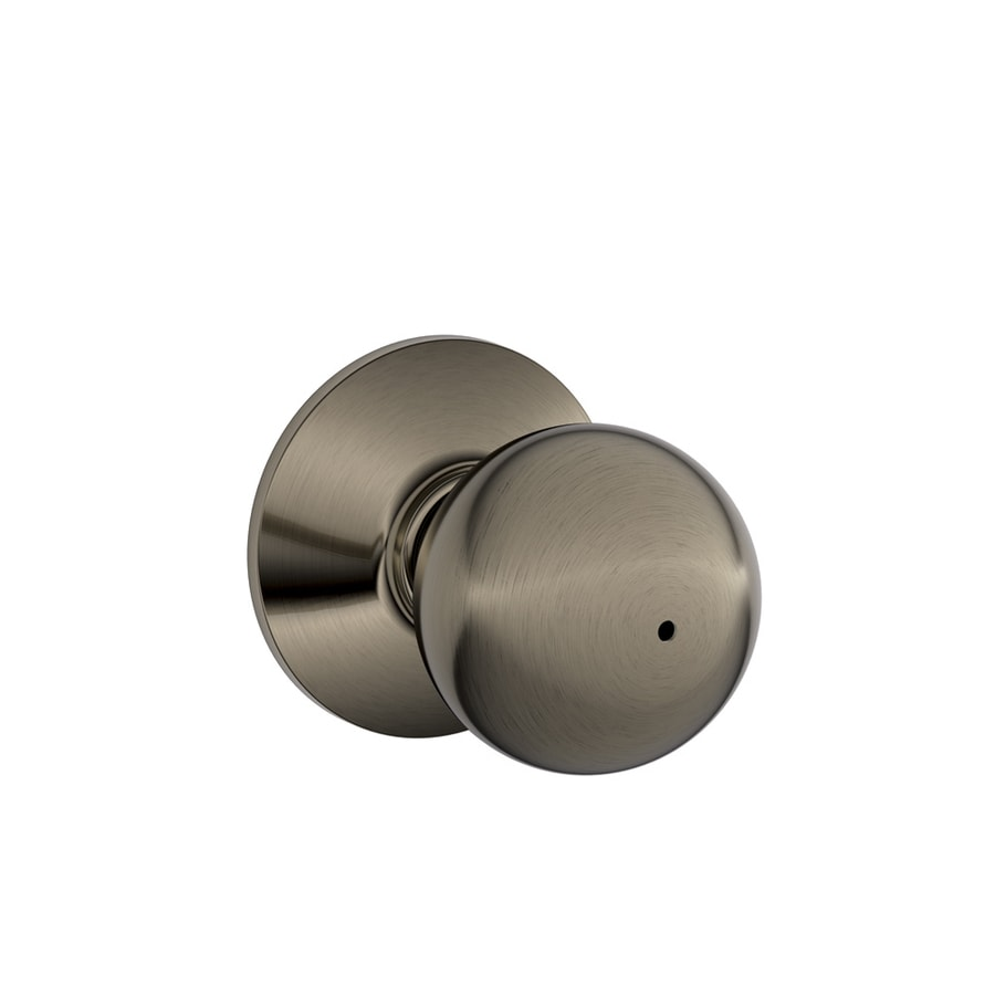 Schlage F Orbit Antique Pewter Round Push Button-Lock Privacy Door Knob