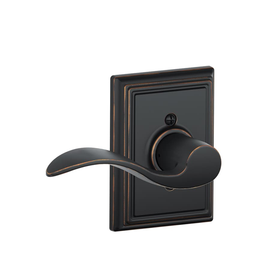 Schlage F Decorative Addison Collections Accent Aged Bronze Left-Handed Dummy Door Lever