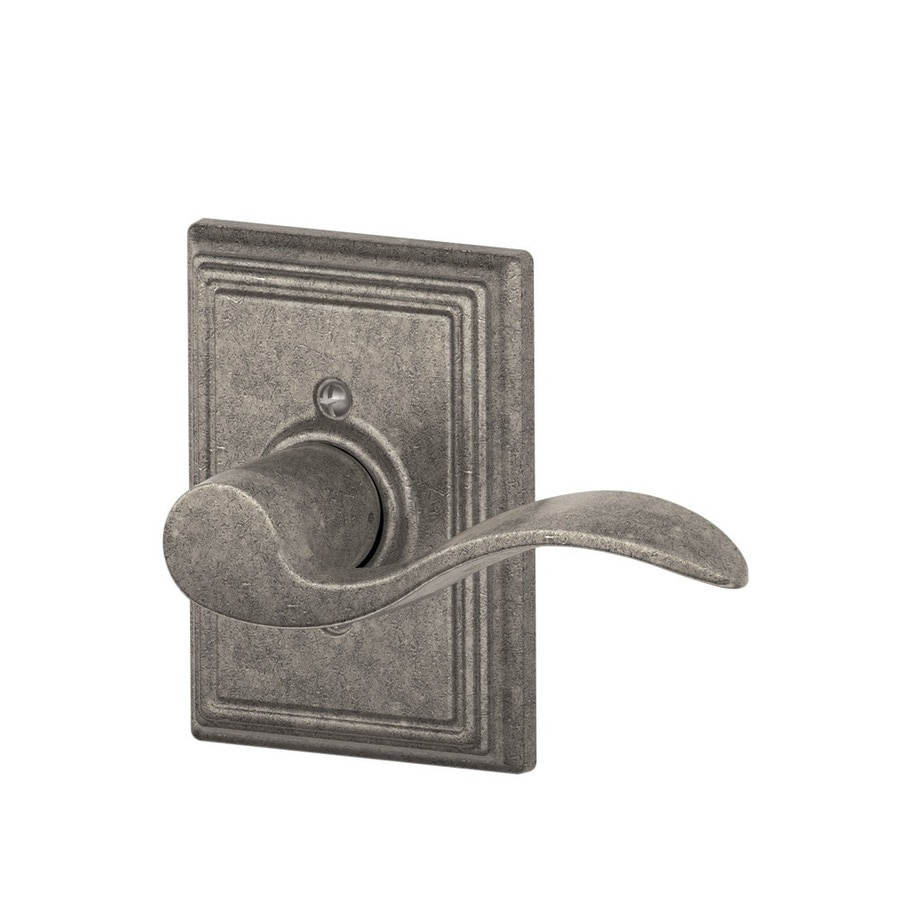 Schlage F Decorative Addison Collections Accent Distressed Nickel Right-Handed Dummy Door Lever