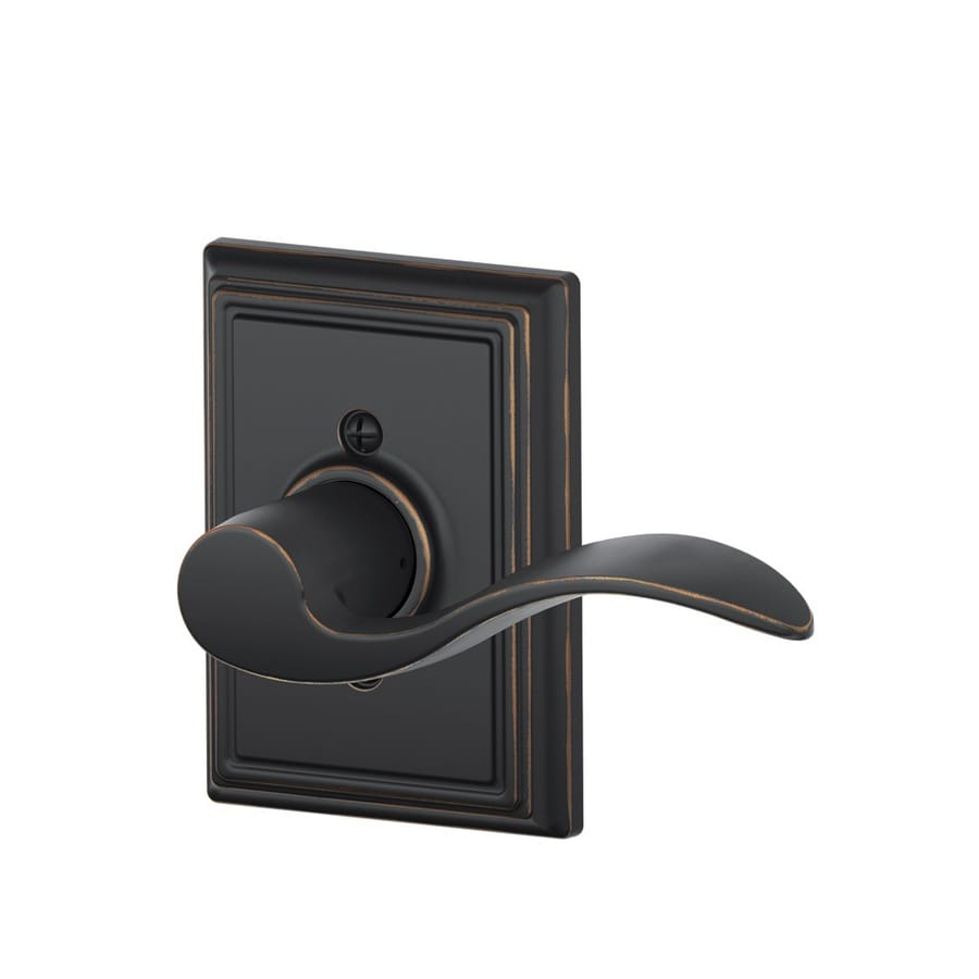 Schlage F Decorative Addison Collections Accent Aged Bronze Right-Handed Dummy Door Lever