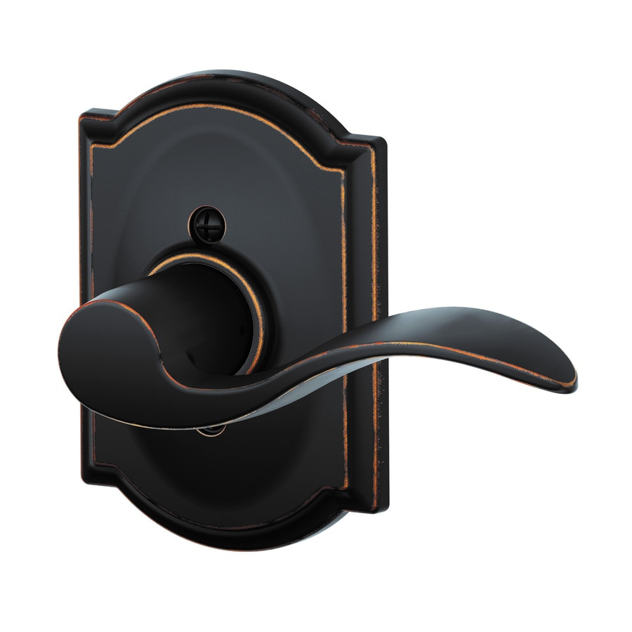 Schlage F Decorative Camelot Collections Accent Aged Bronze Right-Handed Dummy Door Lever