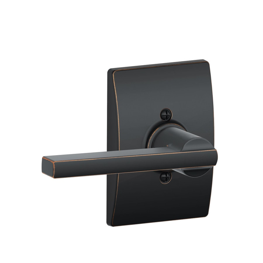 Schlage F Decorative Century Collections Latitude Aged Bronze Universal Dummy Door Lever