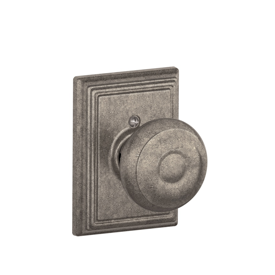 Schlage F Decorative Addison Collections Georgian Distressed Nickel Dummy Door Knob