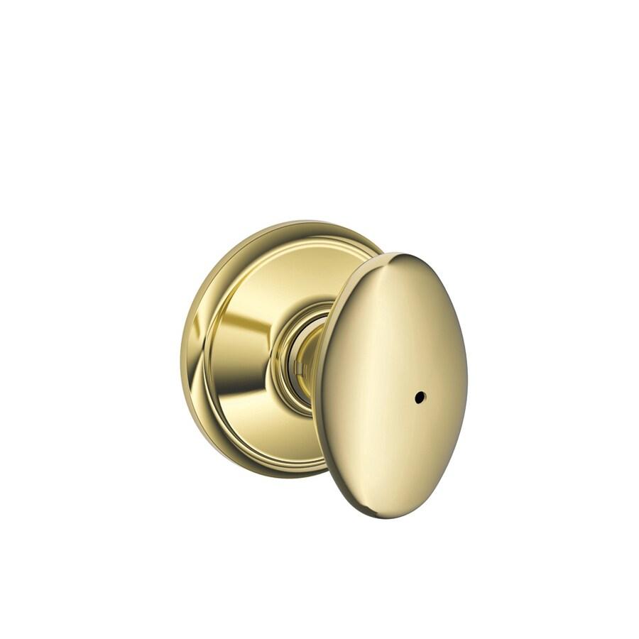 Schlage F Siena Bright Brass Egg Push Button-Lock Privacy Door Knob
