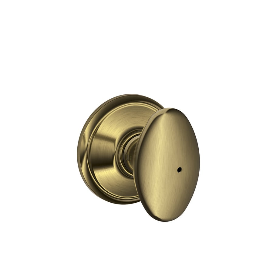 Schlage F Siena Antique Brass Egg Push Button-Lock Privacy Door Knob