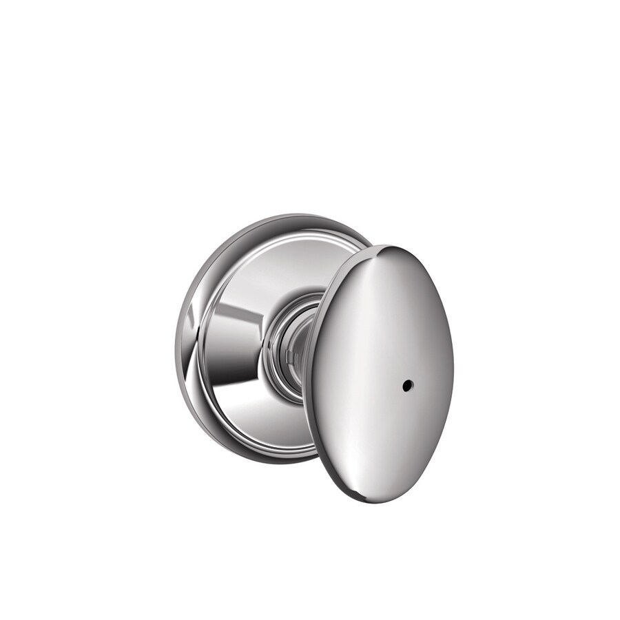 Schlage F Siena Bright Chrome Egg Push Button-Lock Privacy Door Knob