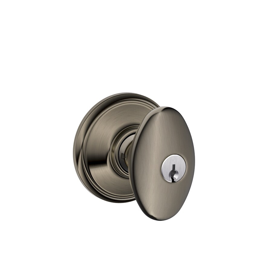 Shop schlage f siena antique pewter keyed entry door knob for Exterior door knobs