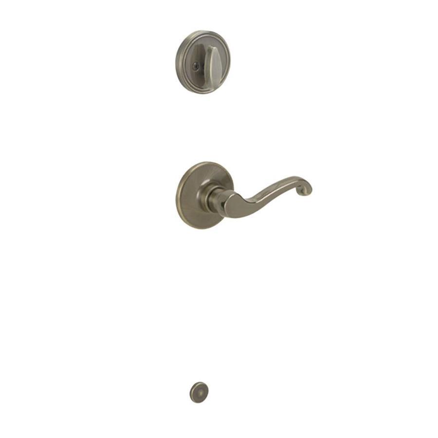 Schlage Lasalle 1-3/8-in to 1-3/4-in Antique Brass Single Cylinder Lever Entry Door Interior Handle