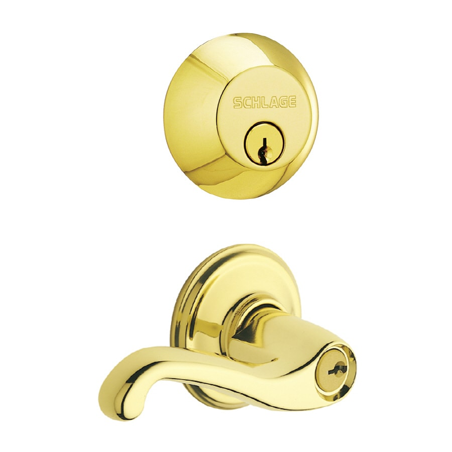 Schlage Flair Traditional Bright Brass Single-Lock Keyed Entry Door Handleset