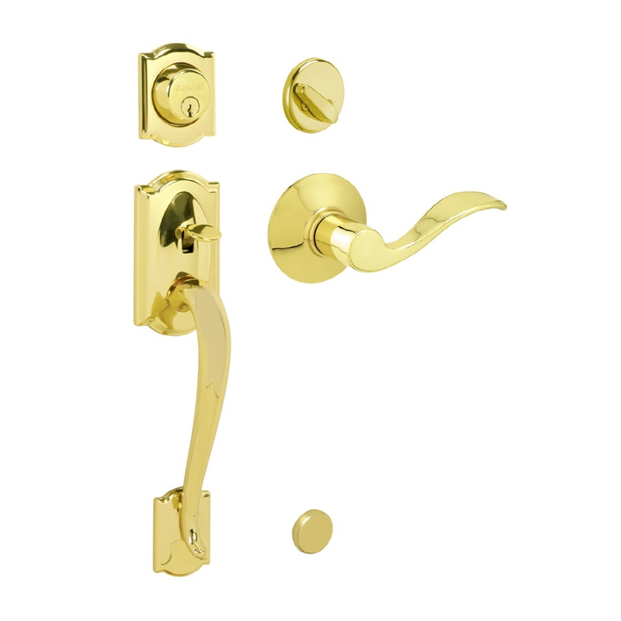 Superb Schlage Camelot Bright Brass Single Lock Keyed Entry Door Handleset