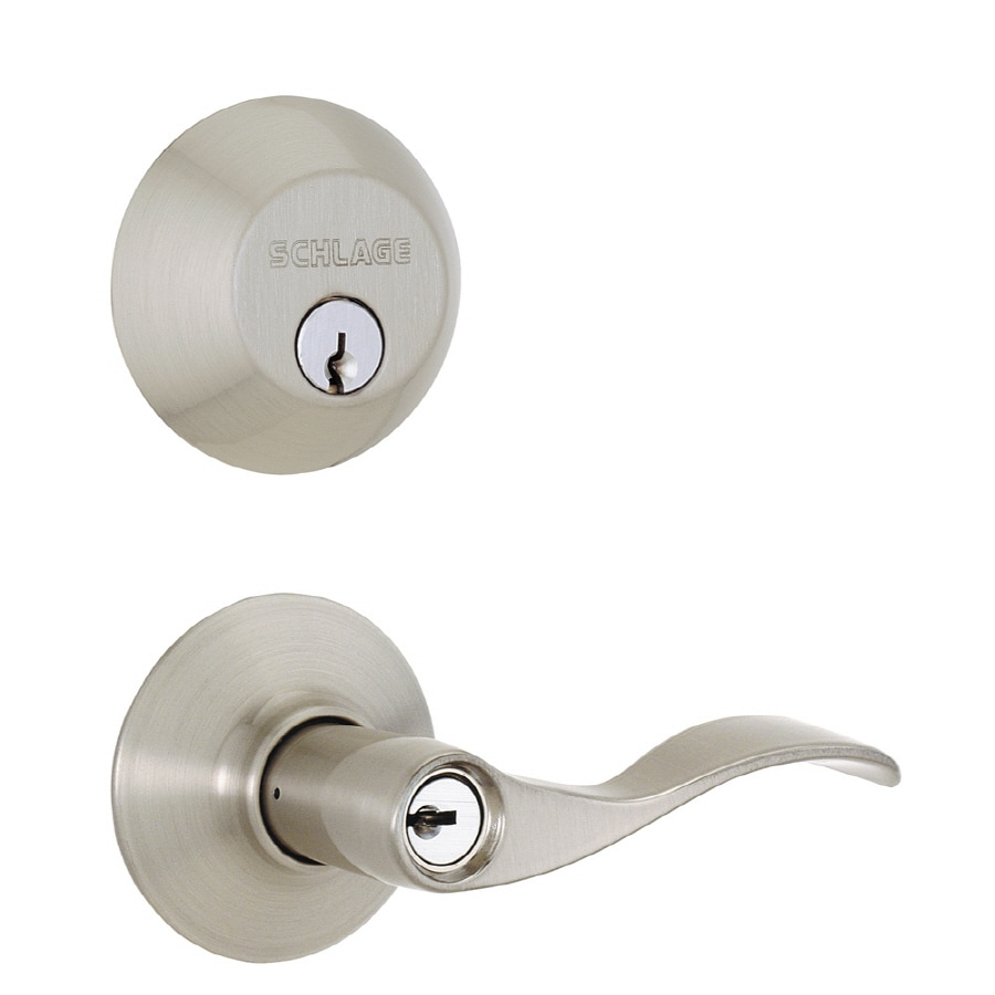 Shop schlage accent satin nickel traditional keyed entry door handleset at for Exterior door handle and lock set