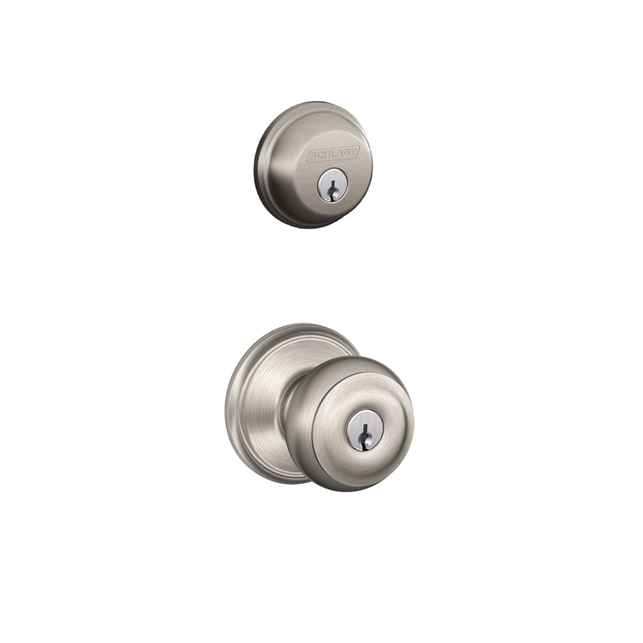 High Quality Schlage Georgian Traditional Satin Nickel Single Lock Keyed Entry Door  Handleset