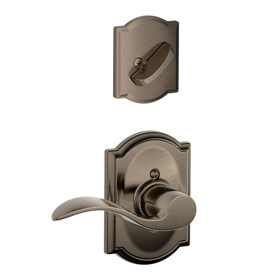 Schlage Accent x Camelot Rose 1-5/8-in to 1-3/4-in Antique Pewter Single Cylinder Lever Entry Door Interior Handle