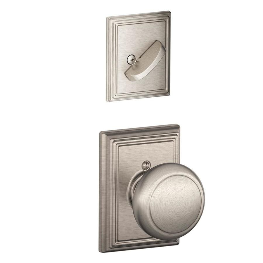 Schlage Andover x Addison Rose 1-5/8-in to 1-3/4-in Satin Nickel Single Cylinder Knob Entry Door Interior Handle
