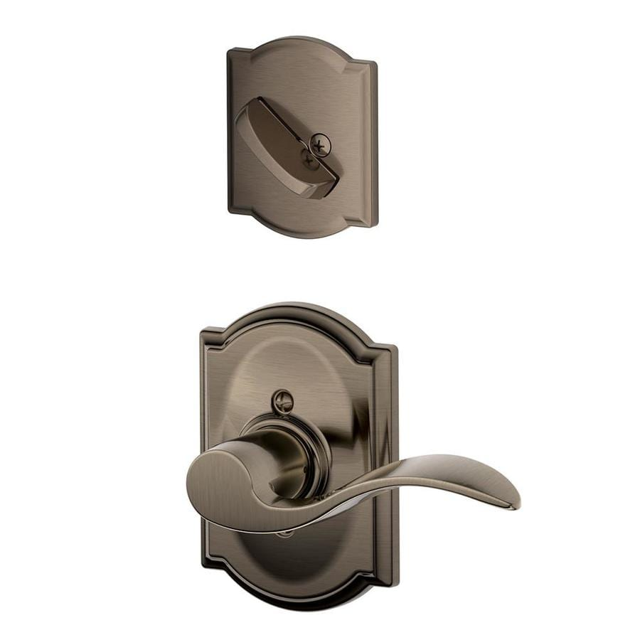 Schlage Accent x Camelot Rose 1-5/8-in to 1-3/4-in Antique Pewter Non-Keyed Lever Entry Door Interior Handle
