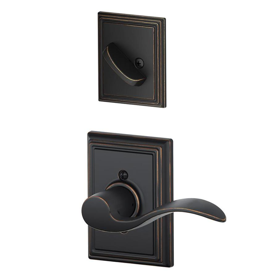 Schlage Accent x Addison Rose 1-5/8-in to 1-3/4-in Aged Bronze Non-Keyed Lever Entry Door Interior Handle