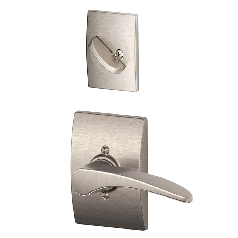 Schlage Manhattan x Century Rose 1-5/8-in to 1-3/4-in Satin Nickel Non-Keyed Lever Entry Door Interior Handle