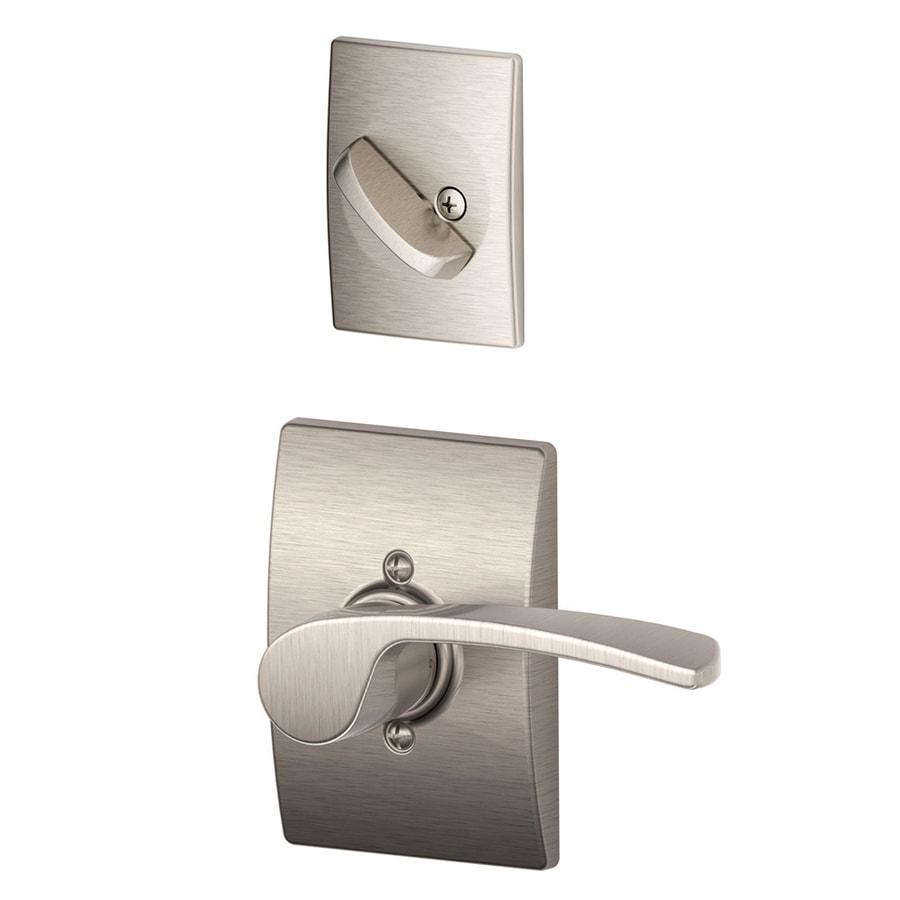 Schlage Merano x Century Rose 1-5/8-in to 1-3/4-in Satin Nickel Non-Keyed Lever Entry Door Interior Handle