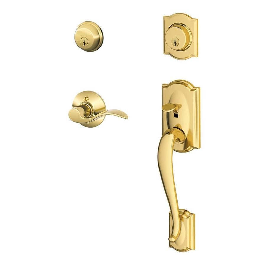 Schlage F Camelot Accent Lever Bright Brass Double