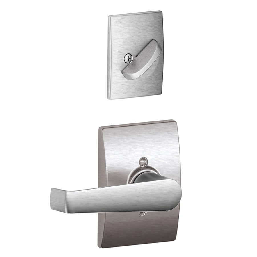 Schlage Elan x Century Rose 1-5/8-in to 1-3/4-in Satin Chrome Non-Keyed Lever Entry Door Interior Handle