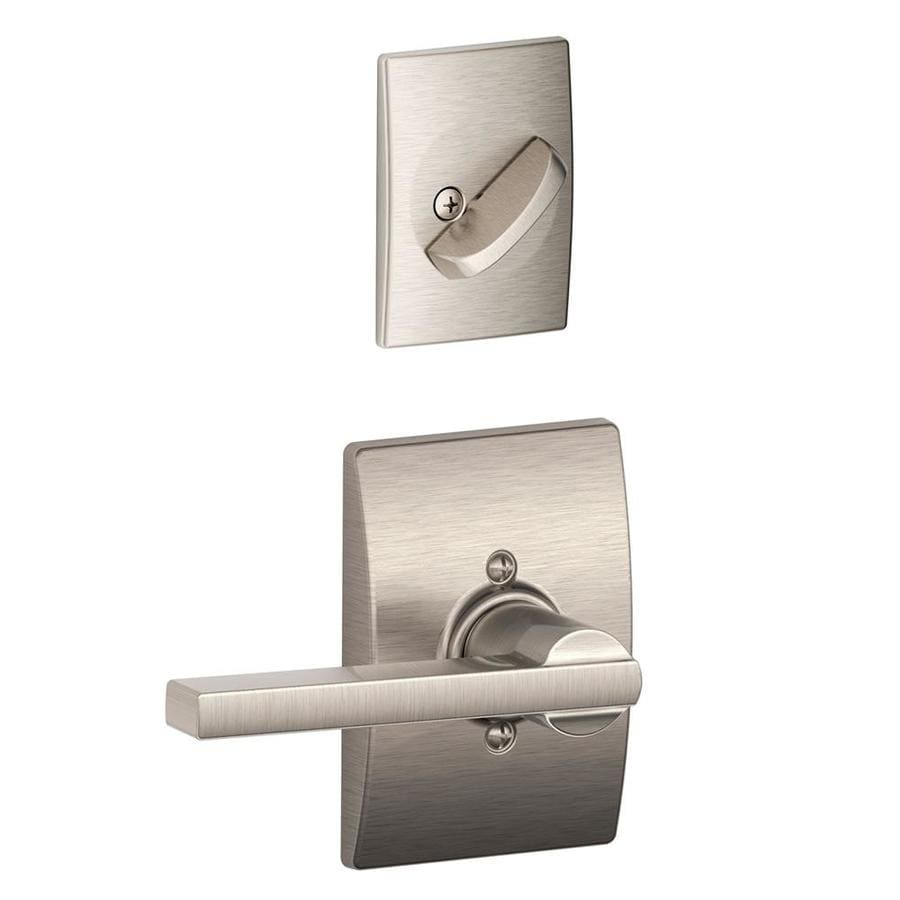 Schlage Latitude x Century Rose 1-5/8-in to 1-3/4-in Satin Nickel Non-Keyed Lever Entry Door Interior Handle