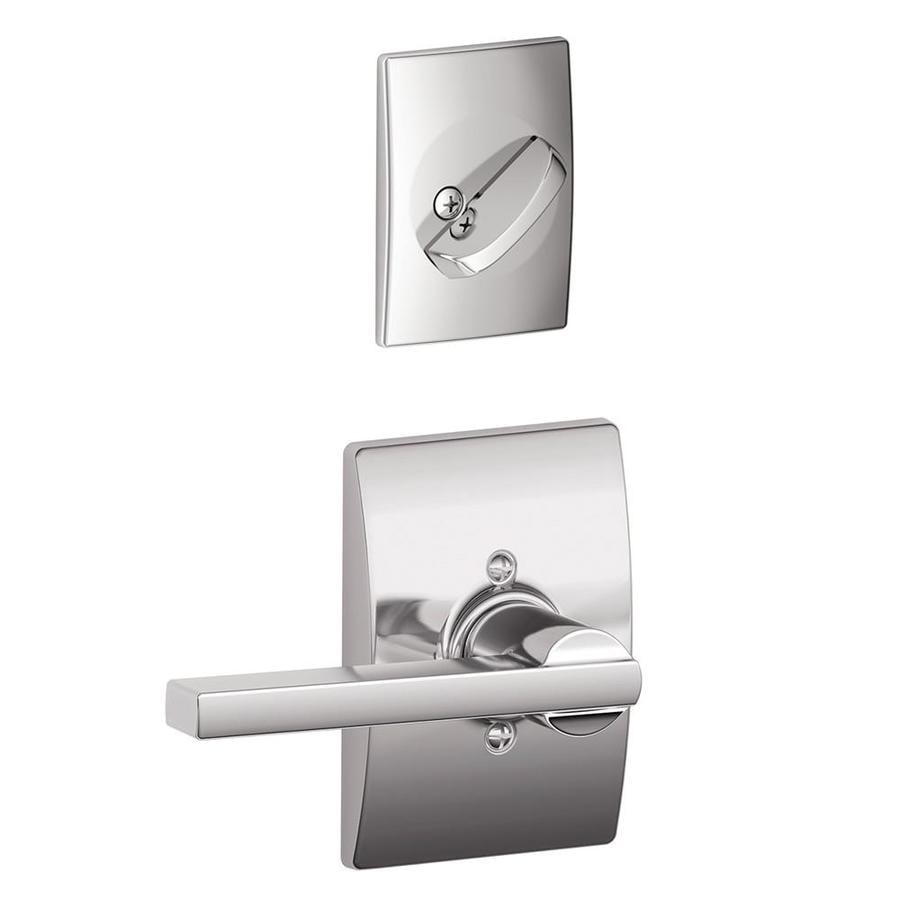 Schlage Latitude x Century Rose 1-5/8-in to 1-3/4-in Bright Chrome Non-Keyed Lever Entry Door Interior Handle