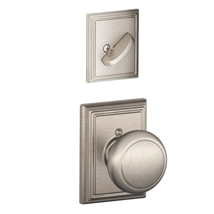 Schlage Andover x Addison Rose 1-5/8-in to 1-3/4-in Satin Nickel Non-Keyed Knob Entry Door Interior Handle