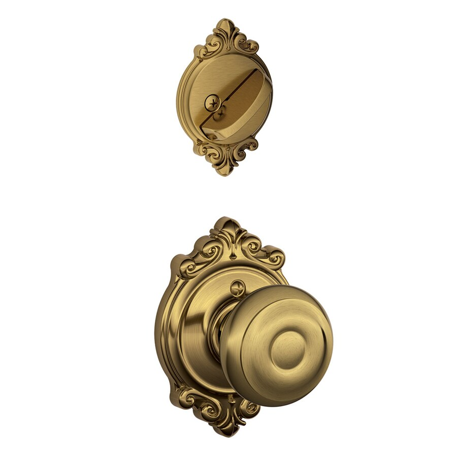 Schlage Georgian x Brookshire Rose 1-5/8-in to 1-3/4-in Antique Brass Non-Keyed Knob Entry Door Interior Handle
