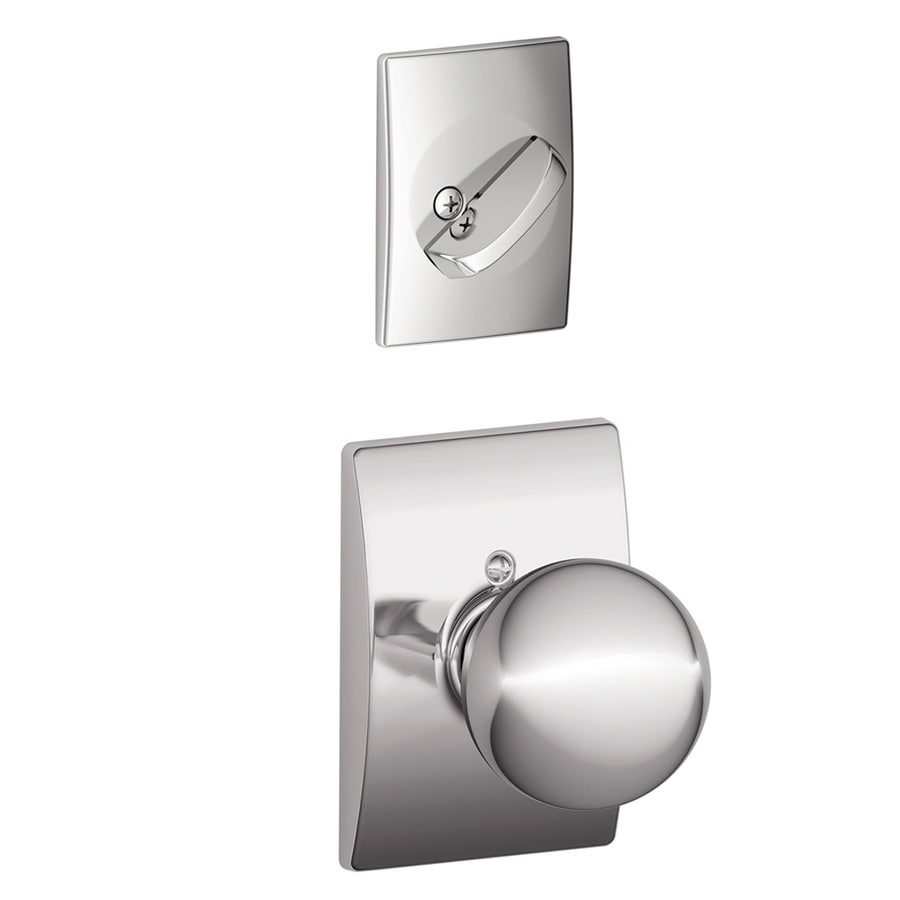 Schlage Orbit x Century Rose 1-5/8-in to 1-3/4-in Bright Chrome Non-Keyed Knob Entry Door Interior Handle