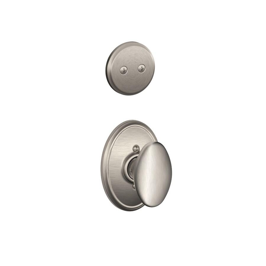Schlage Siena x Wakefield Rose 1-5/8-in to 1-3/4-in Satin Nickel Non-Keyed Knob Entry Door Interior Handle