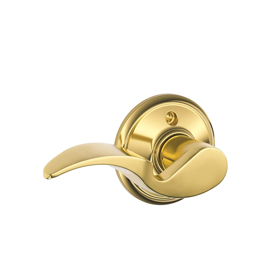 Schlage F Avanti Lifetime Bright Brass Left-Handed Dummy Door Lever