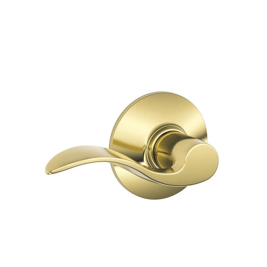 Schlage Accent Lifetime Bright Brass-Handed Passage Door Lever
